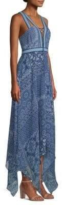 BCBGMAXAZRIA Lace-Up V-Neck Handkerchief Dress