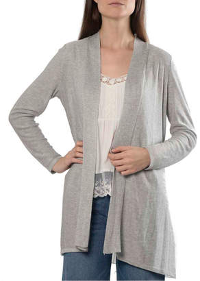 Anna Cai Long-Sleeve Open Cardigan with Pleated Woven Back