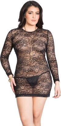 Coquette Women's Plus-Size Diva Plus Size Stretch Lace Mini Dress with Scoop Back