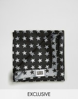 Reclaimed Vintage Star Pocket Square In Black