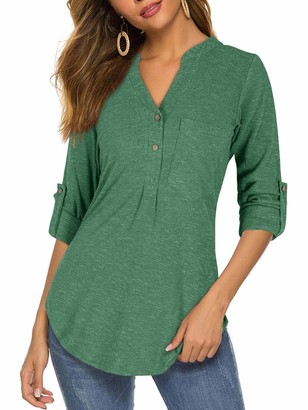Moyabo Womens Shirts to Wear with Leggings for Women Womens Thermal Tops Long Sleeve 3/4 Sleeve Henley Button Loose Blouse Dark Green X-Large