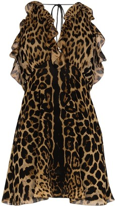 Saint Laurent Leopard Print V-Neck Dress