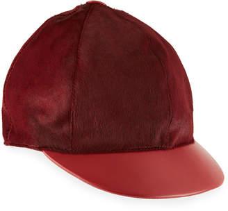 Marzi Calf Hair & Leather Baseball Hat