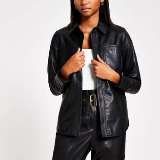 River Island Womens Black leather button front jacket