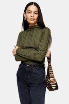 Topshop Khaki Knitted Funnel Neck Top