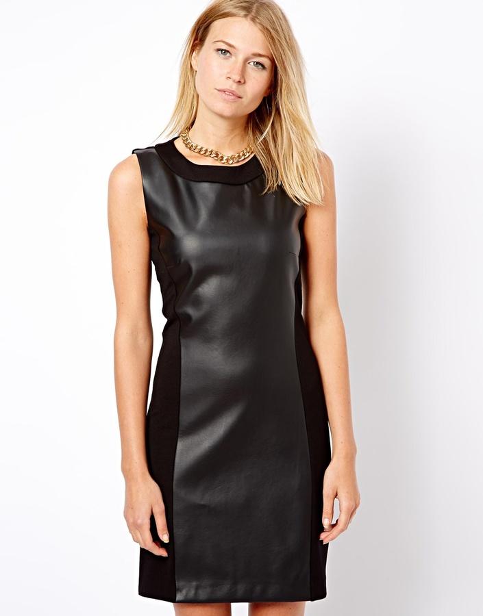 MANGO Leather Look Shift Dress - Black