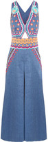 Temperley London Spellbound Embroidered Linen-blend Chambray Jumpsuit - Blue