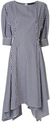 Juun.J Striped Asymmetric Hem Shirt Dress