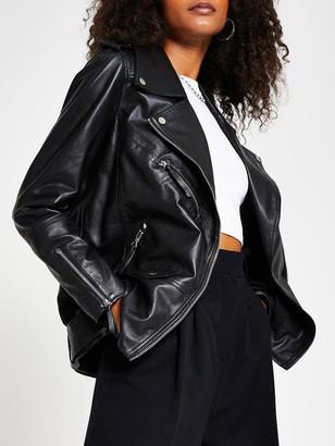 River Island Premium Longline Leather Biker Jacket - Black