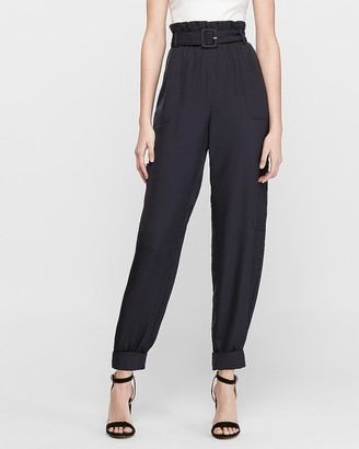Express High Waisted Belted Paperbag Utility Jogger Pant
