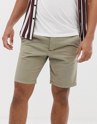 French Connection slim fit peached cotton chino shorts-Green