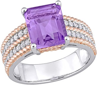 18K Gold Plated Sterling 3.55 cttw Amethyst & White Topaz Ring