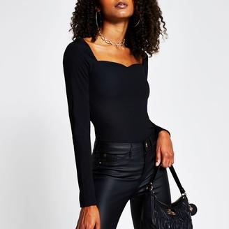 River Island Womens Black long sleeve sweetheart neckline top