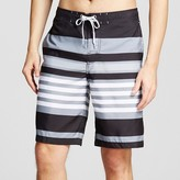 Merona Men's Stripe Swim Trunks Grey