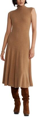 Polo Ralph Lauren Turtleneck Fit & Flare Cashmere Midi Dress