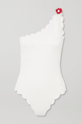 Marysia Swim Santa Barbara Embellished One-shoulder Scalloped Stretch-crepe Swimsuit - White
