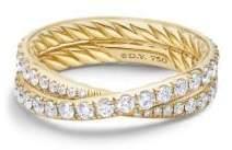 David Yurman Dy Crossover Wedding Band With Diamonds In 18K Gold,