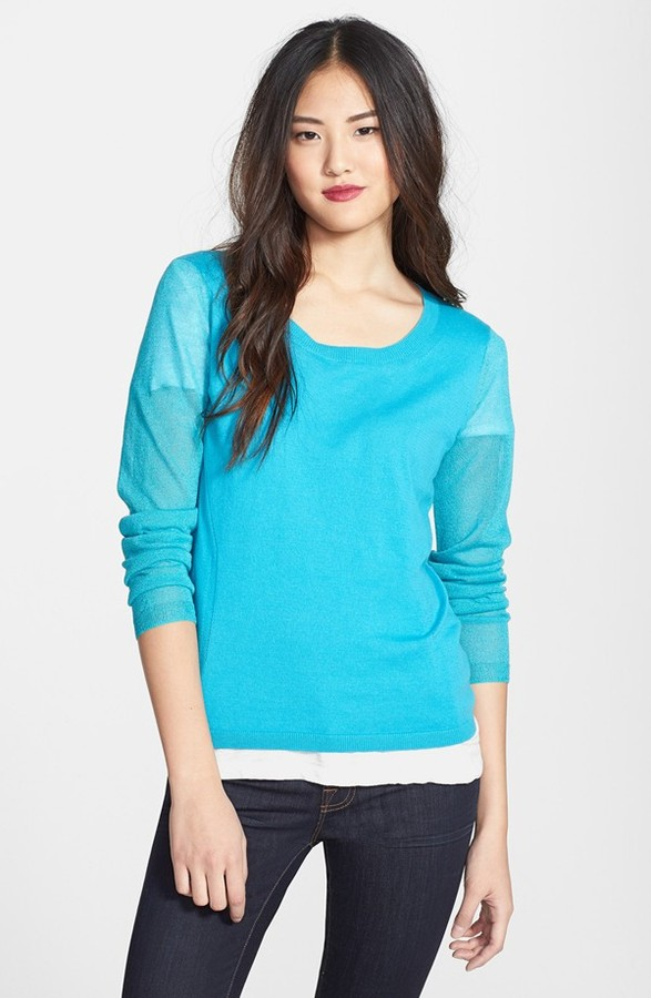Kenneth Cole New York 'Dena' Shimmer Sleeve Sweater (Petite)