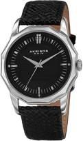 Akribos XXIV Men's Dodecagon Black Leather & Black Dial Watch, 41mm