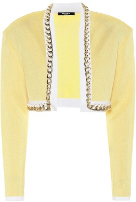 Balmain Exclusive to Mytheresa Chain-link cropped knit jacket