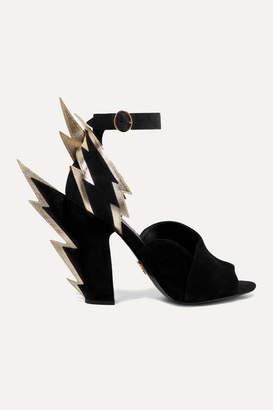 Prada 105 Metallic Textured Leather-trimmed Suede Sandals - Black