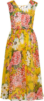 Carolina Herrera Gathered Floral-print Silk-chiffon Midi Dress