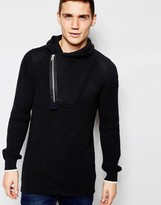 G-star Shawl Knit Jumper Filler Aero Zip Neck In Black/mazarine Blue