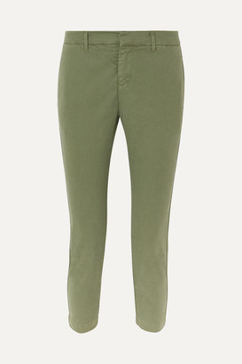 Nili Lotan Tel Aviv Cropped Stretch-cotton Twill Tapered Pants - Green