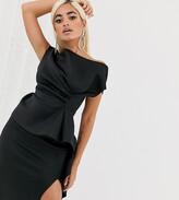 Asos DESIGN Petite midi dress with tuck detail and pep hem