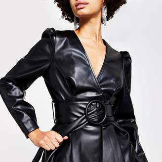 River Island Womens Black faux leather long sleeve belted top