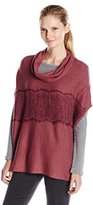Colourworks Colour Works Women's Turtle Neck Poncho with Lace Trim