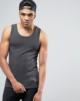 Asos Extreme Muscle Tank In Charcoal Marl