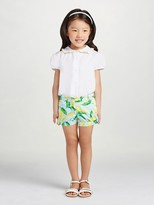 Oscar de la Renta Painted Lemons Cotton Shorts