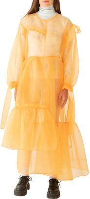 KkCo Nine Twenty-Seven Asymmetrical Ruffle Sheer Organza Dress