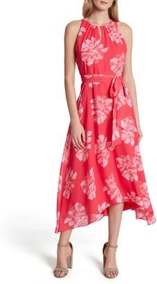 Tahari Floral Chiffon Midi Dress