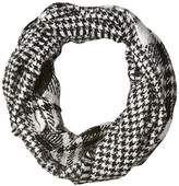 D&Y Women's Plaid and Houndstooth Reversible Woven Loop Scarf