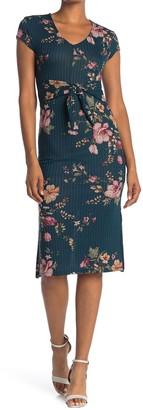 Velvet Torch Ribbed Floral Bodycon Midi Dress