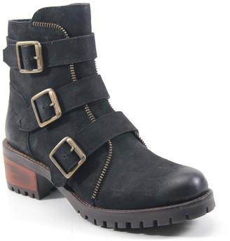 Diba True Adjustable Leather Combat Booties - Roll Around