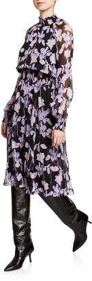 Diane von Furstenberg Athena Floral Silk Chiffon Mock-Neck Dress