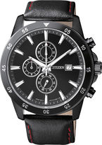JCPenney Citizen Quartz Citizen Mens Black Stainless Steel Chronograph Watch AN3575-03E