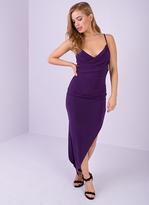 Missy Empire Genesis Purple Ruched Asymmetric Bodycon Dress