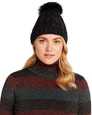 Echo Asiatic Raccoon Fur Pom-Pom Cable-Knit Beanie - 100% Exclusive
