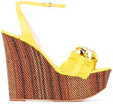 Casadei fringed woven wedge sandals