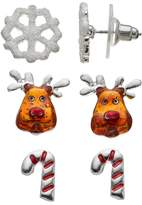 Candy Cane, Snowflake & Reindeer Stud Earring Set