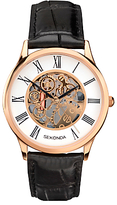 Sekonda 1203.00 Skeleton Leather Strap Watch, Black/white