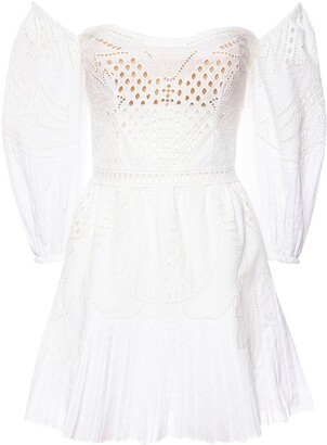 Alberta Ferretti Embroidered Cotton Muslin Dress