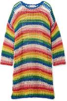 Mira Mikati Striped Crocheted Cotton Dress - Yellow
