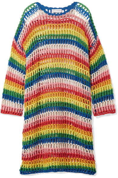 Mira Mikati Striped Crocheted Cotton Dress - Yellow