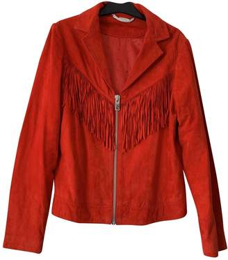 Ikks Red Leather Leather Jacket for Women
