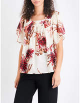Whistles Cactus-print cotton-voile top